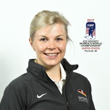 PLYMOUTH, MICHIGAN - MARCH 30: Germany physiotherapist Julia Otte - 2017 IIHF Ice Hockey Women's World Championship. (Photo by Matt Zambonin/HHOF-IIHF Images)