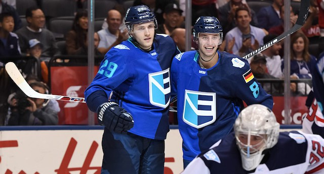 TORONTO, ON - SEPTEMBER 17: Leon Draisaitl #29 celebrates with Tobias Rieder #8 of Team Europe after scoring a second period goal on Jonathan Quick #32 of Team USA during the World Cup of Hockey 2016 at Air Canada Centre on September 17, 2016 in Toronto, Ontario, Canada.  (Photo by Minas Panagiotakis/World Cup of Hockey via Getty Images)