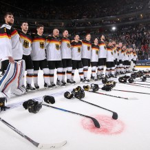 COLOGNE, GERMANY - MAY 5: Germany's Thomas Greiss #1 and teammates  look on during the national anthem after a 2-1 preliminary round win over the U.S. at the 2017 IIHF Ice Hockey World Championship. (Photo by Andre Ringuette/HHOF-IIHF Images)