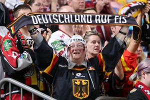 COLOGNE, GERMANY - MAY 16: Germany fan celebrates after a second period goal against Latvia during preliminary round action at the 2017 IIHF Ice Hockey World Championship. (Photo by Andre Ringuette/HHOF-IIHF Images)