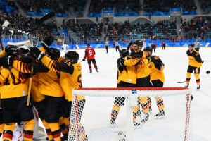 GANGNEUNG, SOUTH KOREA - FEBRUARY 23: Team Germany celebrates following a 4-3 win over Team Canada during semifinal round action at the PyeongChang 2018 Olympic Winter Games. (Photo by Matt Zambonin/HHOF-IIHF Images)